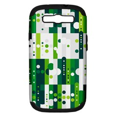 Generative Art Experiment Rectangular Circular Shapes Polka Green Vertical Samsung Galaxy S Iii Hardshell Case (pc+silicone) by Mariart
