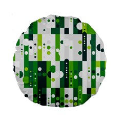 Generative Art Experiment Rectangular Circular Shapes Polka Green Vertical Standard 15  Premium Round Cushions by Mariart