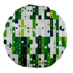 Generative Art Experiment Rectangular Circular Shapes Polka Green Vertical Large 18  Premium Round Cushions by Mariart