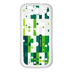 Generative Art Experiment Rectangular Circular Shapes Polka Green Vertical Samsung Galaxy S3 Back Case (white) by Mariart