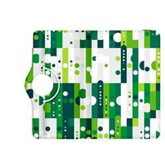 Generative Art Experiment Rectangular Circular Shapes Polka Green Vertical Kindle Fire HDX 8.9  Flip 360 Case