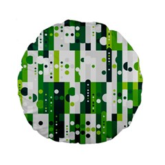 Generative Art Experiment Rectangular Circular Shapes Polka Green Vertical Standard 15  Premium Flano Round Cushions by Mariart