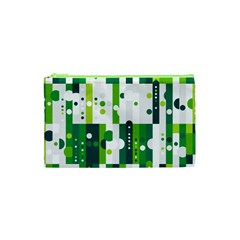 Generative Art Experiment Rectangular Circular Shapes Polka Green Vertical Cosmetic Bag (xs) by Mariart