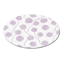 Purple Tulip Flower Floral Polkadot Polka Spot Oval Magnet by Mariart