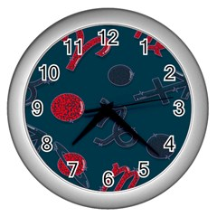 Zodiac Signs Planets Blue Red Space Wall Clocks (silver)  by Mariart