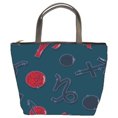 Zodiac Signs Planets Blue Red Space Bucket Bags by Mariart