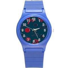 Zodiac Signs Planets Blue Red Space Round Plastic Sport Watch (s) by Mariart