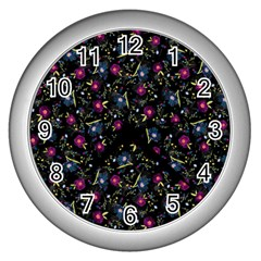 Floral Pattern Wall Clocks (silver)  by ValentinaDesign
