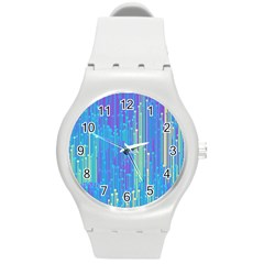 Vertical Behance Line Polka Dot Blue Green Purple Round Plastic Sport Watch (m) by Mariart