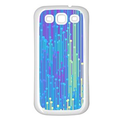 Vertical Behance Line Polka Dot Blue Green Purple Samsung Galaxy S3 Back Case (white) by Mariart