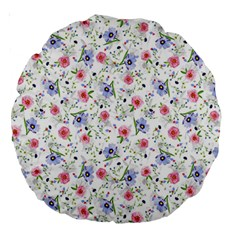 Floral Pattern Large 18  Premium Round Cushions by ValentinaDesign