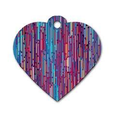 Vertical Behance Line Polka Dot Blue Green Purple Red Blue Black Dog Tag Heart (one Side) by Mariart