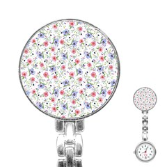 Floral Pattern Stainless Steel Nurses Watch by ValentinaDesign