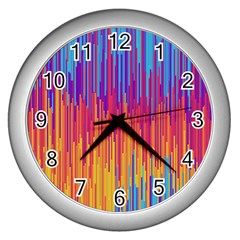 Vertical Behance Line Polka Dot Blue Red Orange Wall Clocks (silver)  by Mariart