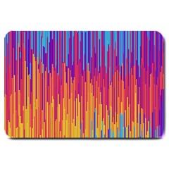 Vertical Behance Line Polka Dot Blue Red Orange Large Doormat  by Mariart