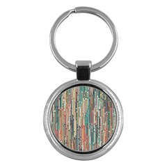 Vertical Behance Line Polka Dot Grey Blue Brown Key Chains (round)  by Mariart