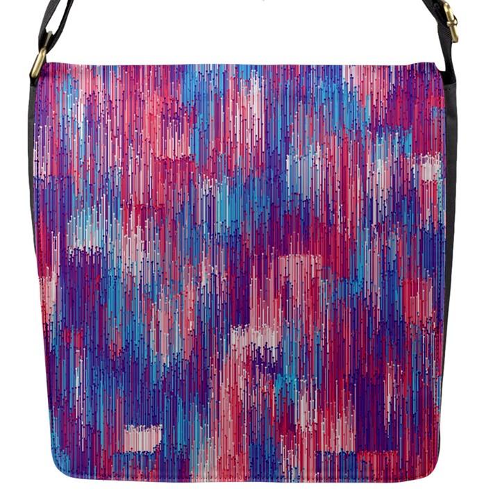 Vertical Behance Line Polka Dot Blue Green Purple Red Blue Small Flap Messenger Bag (S)