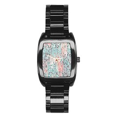 Vertical Behance Line Polka Dot Grey Pink Stainless Steel Barrel Watch by Mariart