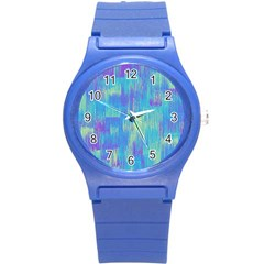 Vertical Behance Line Polka Dot Purple Green Blue Round Plastic Sport Watch (s) by Mariart