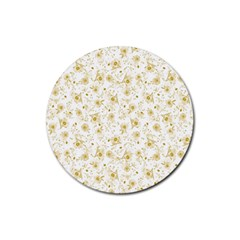 Floral Pattern Rubber Coaster (round)  by ValentinaDesign