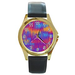 Vertical Behance Line Polka Dot Red Blue Orange Round Gold Metal Watch by Mariart