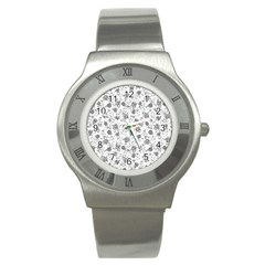 Floral Pattern Stainless Steel Watch by ValentinaDesign