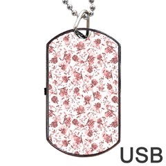 Floral Pattern Dog Tag Usb Flash (two Sides) by ValentinaDesign