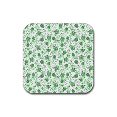 Floral Pattern Rubber Square Coaster (4 Pack)  by ValentinaDesign