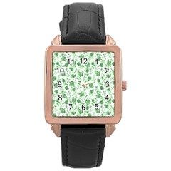 Floral Pattern Rose Gold Leather Watch  by ValentinaDesign