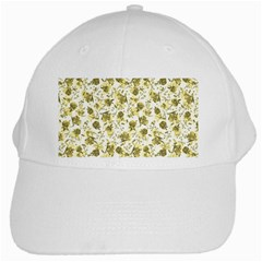 Floral Pattern White Cap by ValentinaDesign