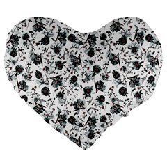 Floral Pattern Large 19  Premium Heart Shape Cushions by ValentinaDesign
