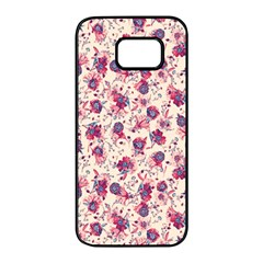 Floral Pattern Samsung Galaxy S7 Edge Black Seamless Case by ValentinaDesign