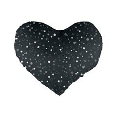 Dots Pattern Standard 16  Premium Flano Heart Shape Cushions by ValentinaDesign