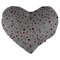 Dots Pattern Large 19  Premium Heart Shape Cushions by ValentinaDesign