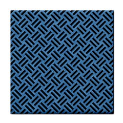 Woven2 Black Marble & Blue Colored Pencil (r) Face Towel