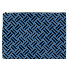 Woven2 Black Marble & Blue Colored Pencil (r) Cosmetic Bag (xxl) by trendistuff