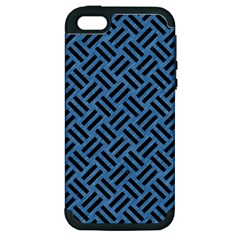 Woven2 Black Marble & Blue Colored Pencil (r) Apple Iphone 5 Hardshell Case (pc+silicone) by trendistuff