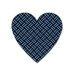 Woven2 Black Marble & Blue Colored Pencil Magnet (heart) by trendistuff