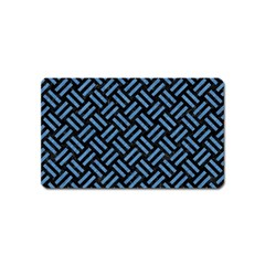 Woven2 Black Marble & Blue Colored Pencil Magnet (name Card) by trendistuff