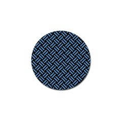 Woven2 Black Marble & Blue Colored Pencil Golf Ball Marker by trendistuff