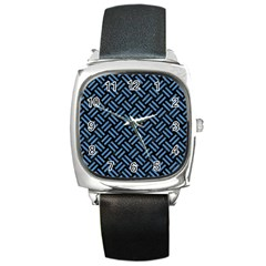 Woven2 Black Marble & Blue Colored Pencil Square Metal Watch by trendistuff