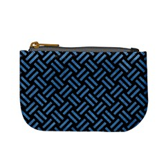 Woven2 Black Marble & Blue Colored Pencil Mini Coin Purse by trendistuff