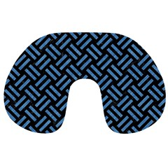 Woven2 Black Marble & Blue Colored Pencil Travel Neck Pillow by trendistuff