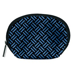 Woven2 Black Marble & Blue Colored Pencil Accessory Pouch (medium) by trendistuff