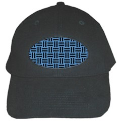 Woven1 Black Marble & Blue Colored Pencil (r) Black Cap by trendistuff
