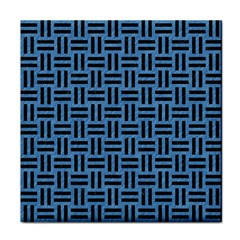 Woven1 Black Marble & Blue Colored Pencil (r) Tile Coaster by trendistuff