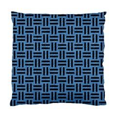 Woven1 Black Marble & Blue Colored Pencil (r) Standard Cushion Case (one Side) by trendistuff