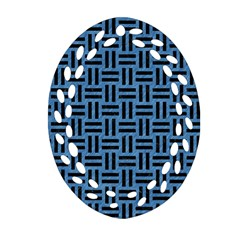 Woven1 Black Marble & Blue Colored Pencil (r) Oval Filigree Ornament (two Sides) by trendistuff