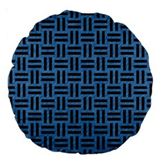 Woven1 Black Marble & Blue Colored Pencil (r) Large 18  Premium Round Cushion  by trendistuff