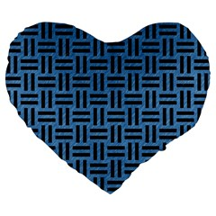Woven1 Black Marble & Blue Colored Pencil (r) Large 19  Premium Flano Heart Shape Cushion by trendistuff